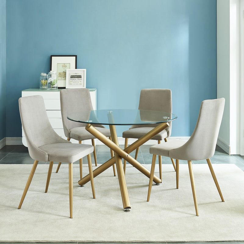Cairo 5pc Dining Set - Gold/Grey