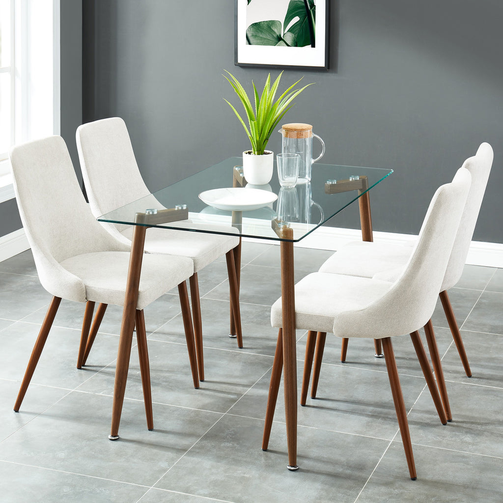 Abbey/Cali 5pc Dining Set - Walnut/Beige