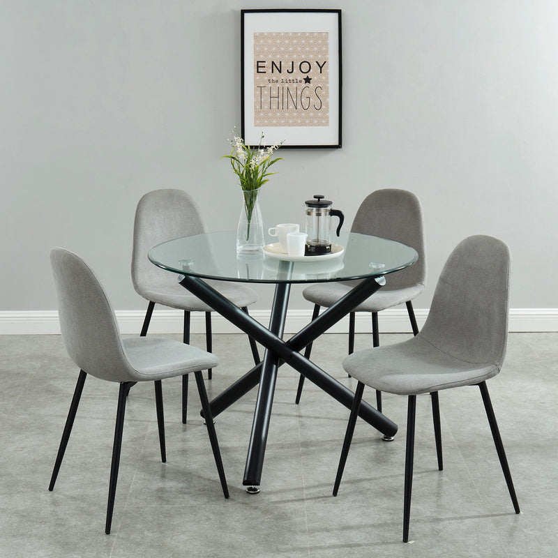 Sadi/Oda 5pc Dining Set - Black/Grey