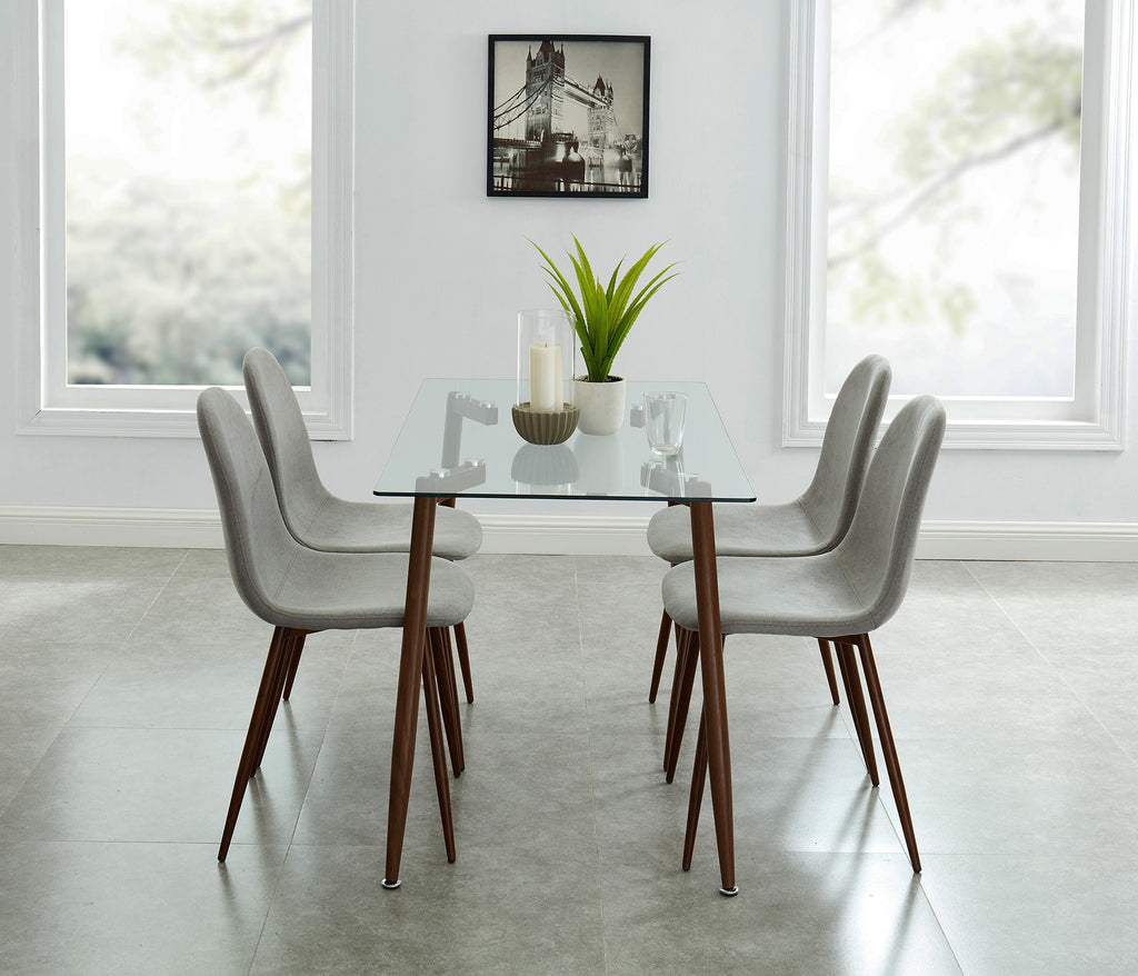 Abbey/Lacole 5pc Dining Set - Walnut/Grey