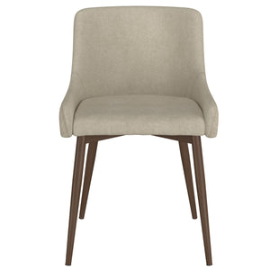 Balin Dining Chair, Set of 2- Beige with Walnut Leg