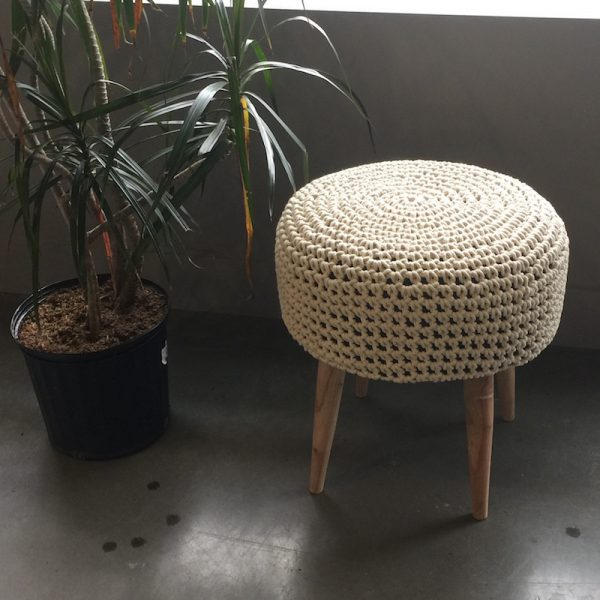 Mabel Macrame Stool - Cream