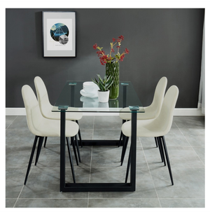 Fadia/Oda 5pc Dining Set - Black/Beige