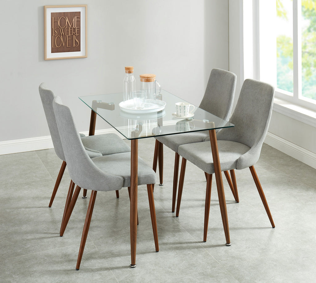 Abbey/Cali 5pc Dining Set - Walnut/Grey