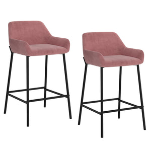 "Barclay 26"" Counter Stool, Set of 2 - Dusty Rose"