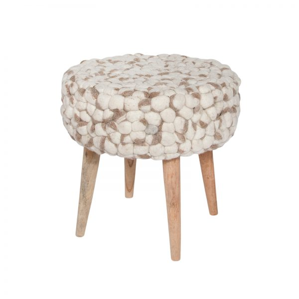 Barbara Felted Wool Stool - Cream