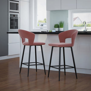 "Calder 26"" Counter Stool, Set of 2 - Dusty Rose"