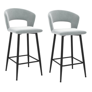 "Calder 26"" Counter Stool, Set of 2 - Light Grey"