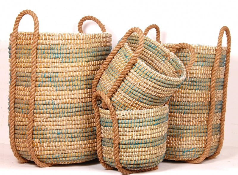 Annie Coiled Grass Basket, Set of 4 - Blue/White