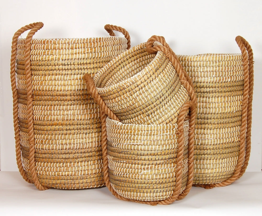 Annie Coiled Grass Basket, Set of 4 - Grey/White