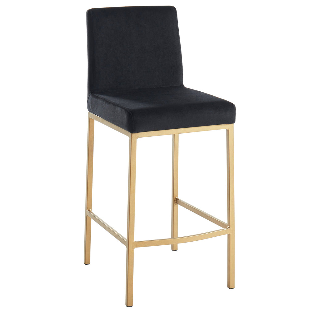 "Daryn 26"" Counter Stool, Set of 2 - Black/Gold Legs"
