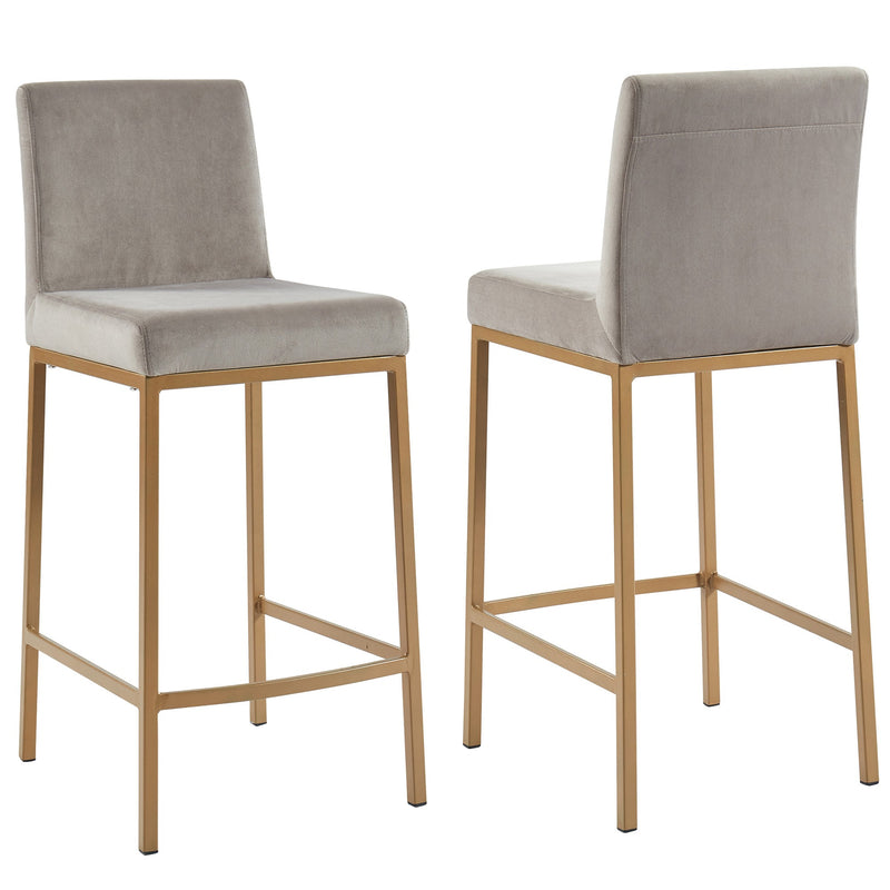 "Daryn 26"" Counter Stool, Set of 2 - Grey/Gold Legs"