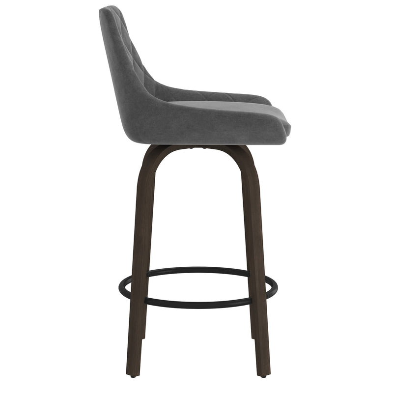 "Kaavia 26"" Swivel Counter Stool, Set of 2 - Grey"