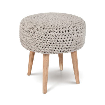 Mabel Macrame Stool - Light Grey