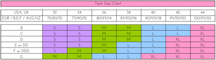 You! Lingerie Tank Top Size Chart