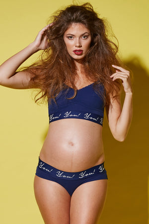 Lifestyle Front Shot of Gia Navy Blue Maternity & Nursing Bra