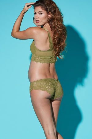 Lifestyle Back Shot of Olivea Olive Green Maternity & Nursing Bra