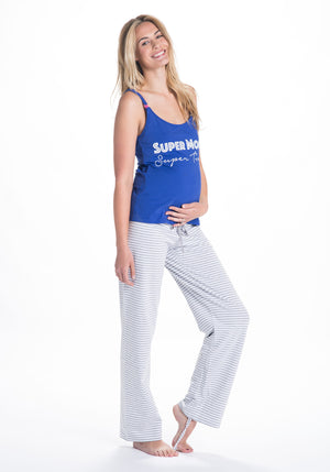 Side Shot of Trudy Navy Blue Maternity & Nursing Pajamas Set