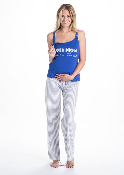 Trudy Super Mom Super Tired Maternity & Nursing Pajama Set