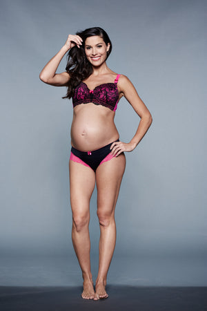 Front Shot of Bella Cerise Black and Hot Pink Maternity & Nursing Bra