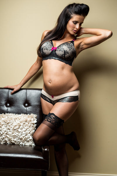 Lifestyle Shot of Elise Black & Nude Maternity & Nursing Bra