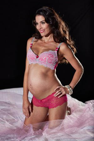Lifestyle Shot of Frosty Strawberry Pink Maternity & Nursing Bra