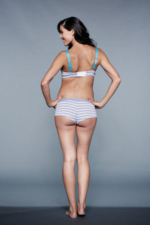 Back shot of London Gray & White Stripes Maternity & Nursing Bra