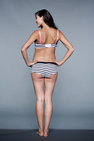 Back Shot of Paris Navy Blue & White Stripes Maternity & Nursing Bra
