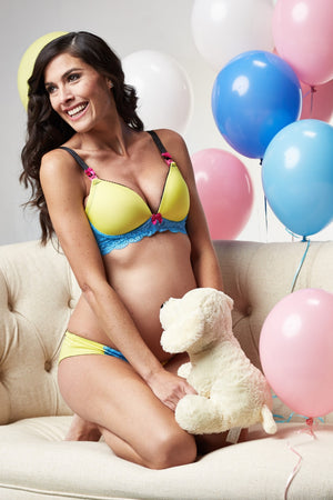 Lifestyle Shot of Zoe Yellow Maternity & Nursing Bra
