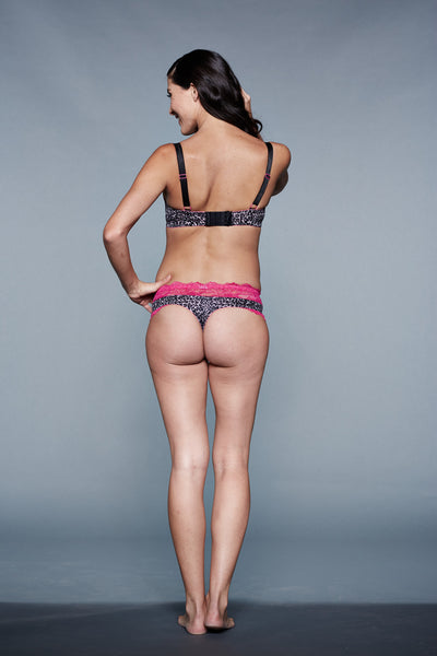 Back Shot of Berry Monroe Leopard print and Pink Maternity Panty