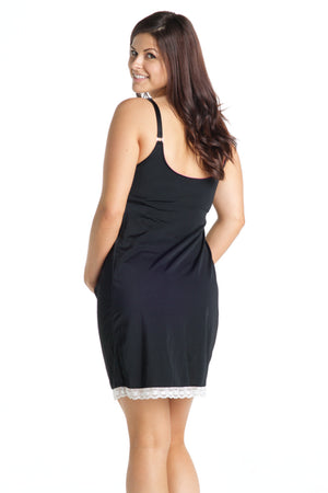 Back Shot of Blackcurrant Black Maternity and Nursing Nightgown Chemise
