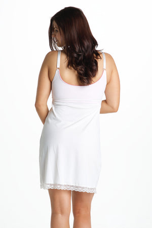 Back Shot of Hazelnut White Maternity & Nursing Nightgown Chemise