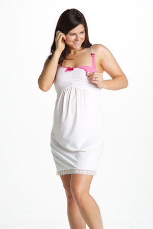 Breastfeeding Clip Shot of Hazelnut White Maternity & Nursing Nightgown Chemise
