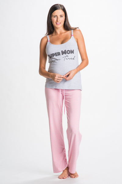 Front Shot of Darcy Gray Maternity and Nursing Pajamas Set