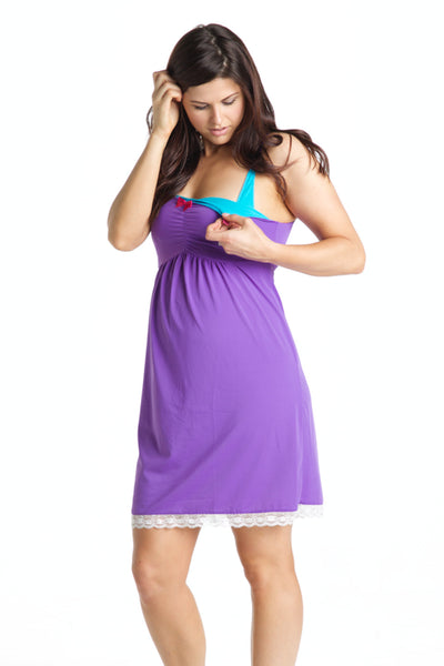 Plum Velvet Maternity & Nursing Chemise - You! Lingerie
