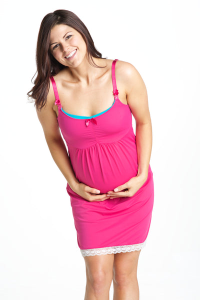 Front Shot of Raspberry Pink Maternity & Nursing Nightgown Chemise
