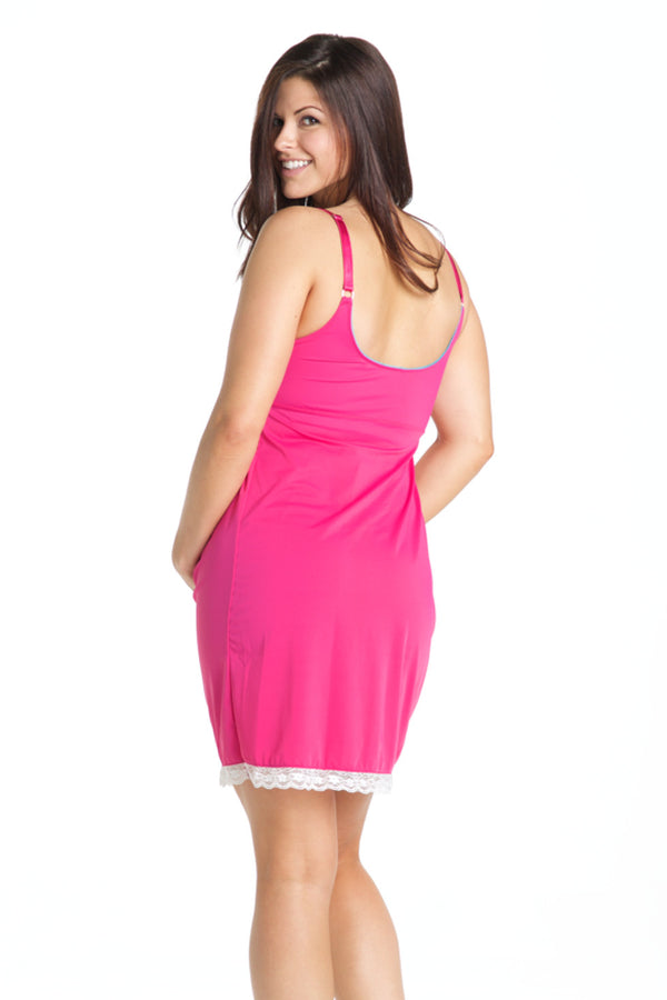 Raspberry Maternity And Nursing Nightgown Chemise You