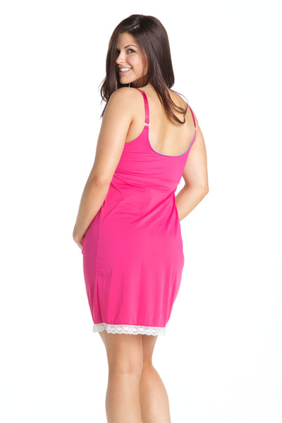 Back Shot of Raspberry Pink Maternity & Nursing Nightgown Chemise