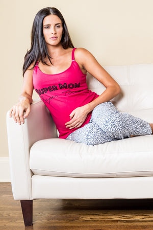 Lifestyle Shot of Rosette Red & White leopard print Maternity & Pajamas Set