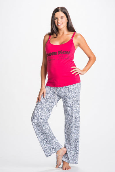 Front Shot of Rosette Red & White leopard print Maternity & Pajamas Set