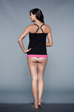Back Shot of Ashe Black Maternity and Nursing Nightgown Chemise