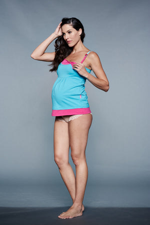 Breastfeeding Clip Shot of Rain Blue & Pink Maternity & Nursing Nightgown Chemise