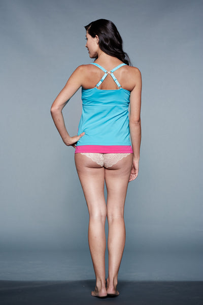 Back Shot of Rain Blue & Pink Maternity & Nursing Nightgown Chemise