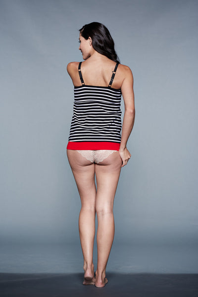 Back Shot of Sydney Black & White Stripes Maternity & Nursing Nightgown Chemise