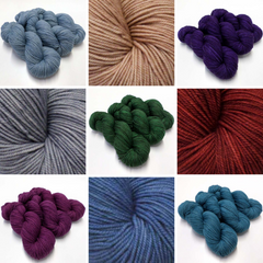 collage of photos of a fairly heavy weight woolly yarn in a variety of colours