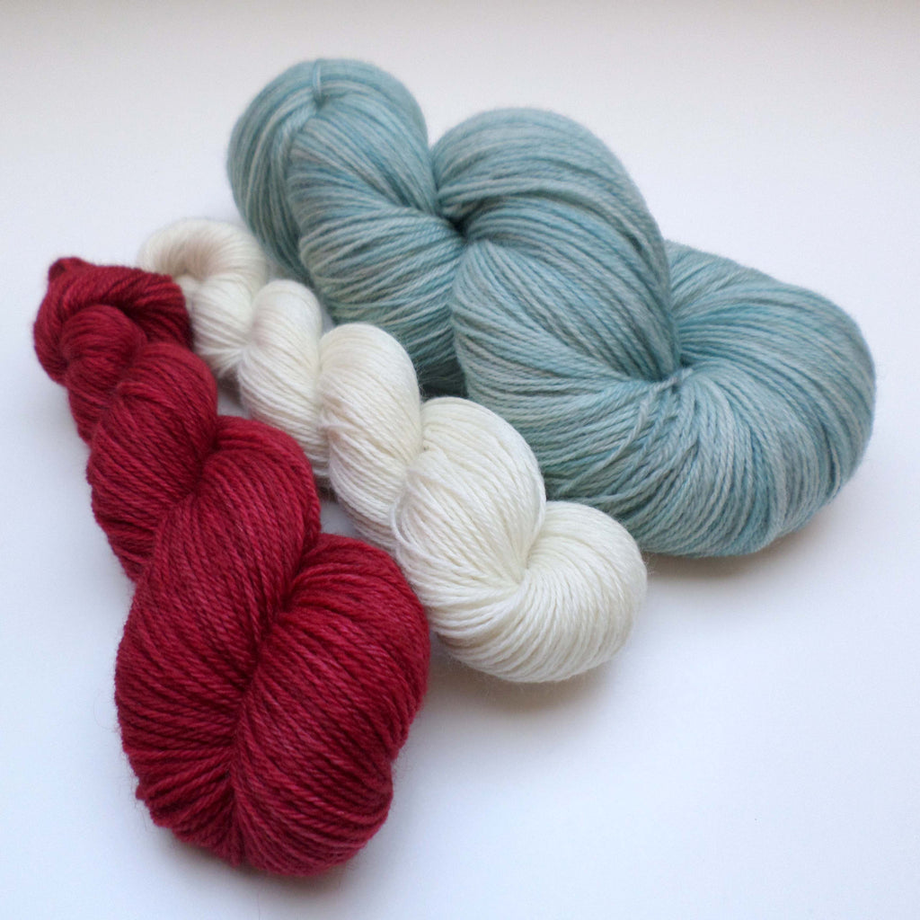 Yarn bundle for Southwold in the Snow pattern - Powder Blue Cherry