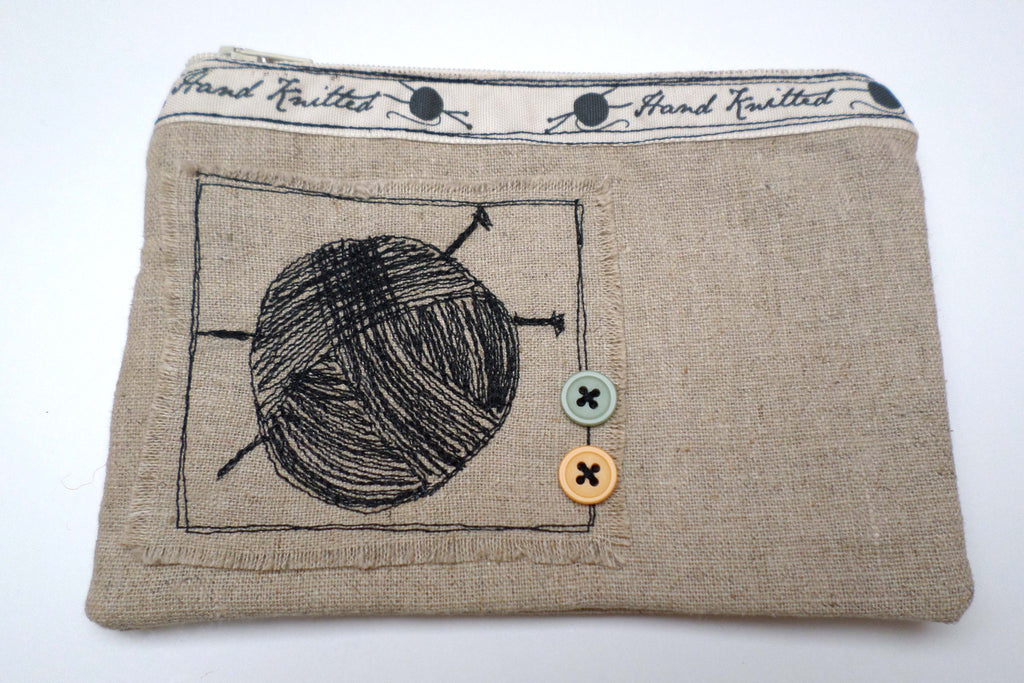 Ball of Yarn with Green and Yellow Buttons Linen purse - Exclusive