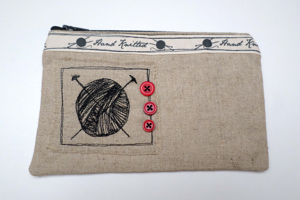 Ball of Yarn with Red Buttons Linen purse - Exclusive