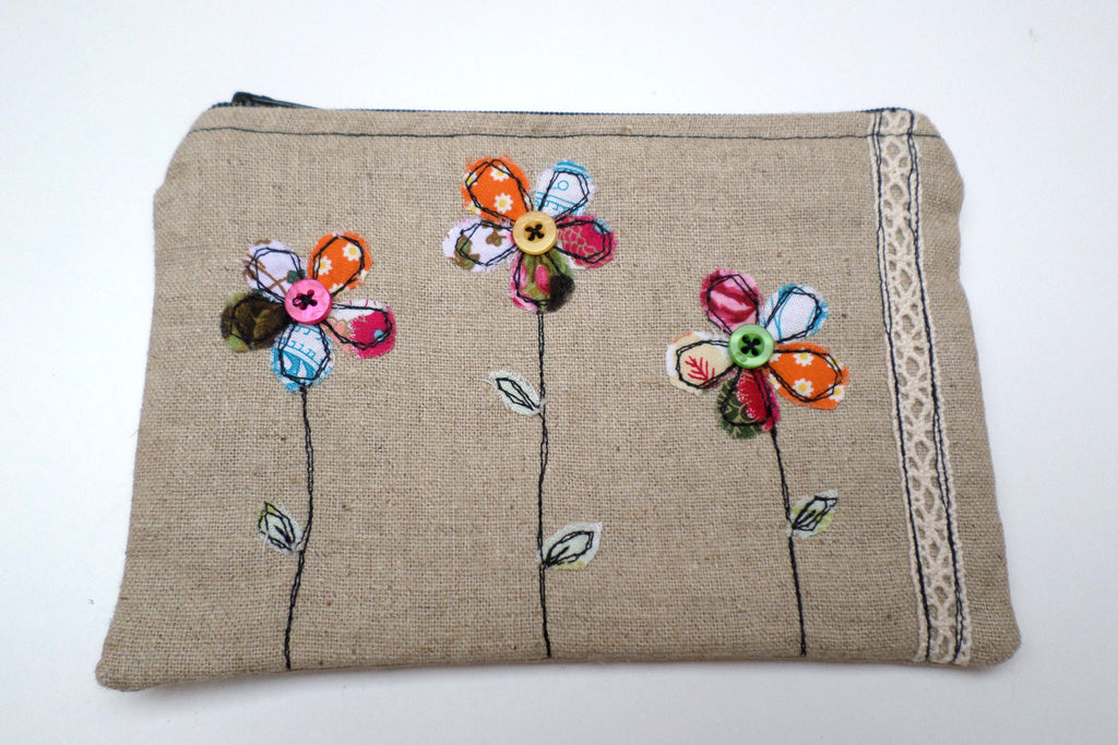 Bright Flowers Linen purse