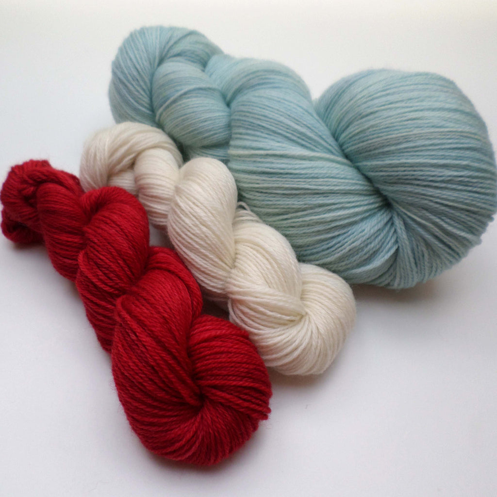 Yarn bundle for Southwold in the Snow pattern - Duck Egg Cherry